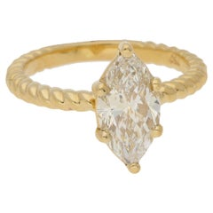 1.6 Carat Marquise Diamond Ring in Gold Twist Rope Band