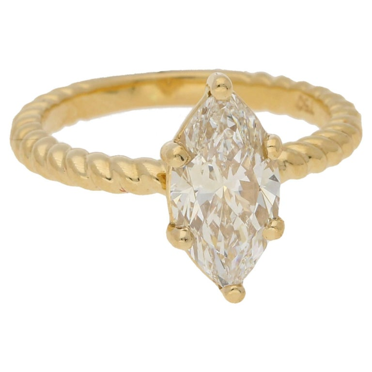 1 6 Carat Marquise Diamond Ring In Gold Twist Rope Band