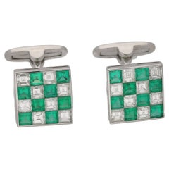 French Cut Diamond Emerald Platinum Cufflinks