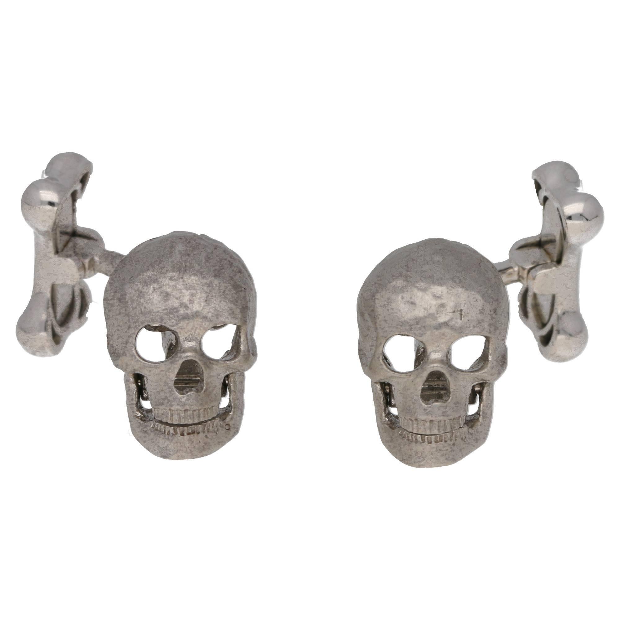 Skull Bone Cufflinks in 18 Karat White Gold