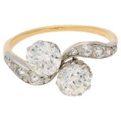 Edwardian Two-Stone Diamond Twist Ring