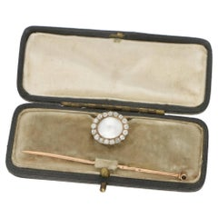 Victorian Pearl Diamond Gold Stickpin