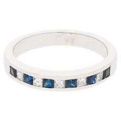 18 Karat Sapphire Diamond Half Eternity Ring