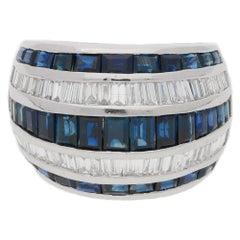 Sapphire Diamond Five-Row Platinum Dress Ring