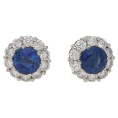 Sapphire Diamond Cluster Stud Earrings