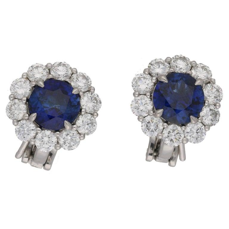 2.64 Carat Sapphire Diamond Cluster Stud Earrings