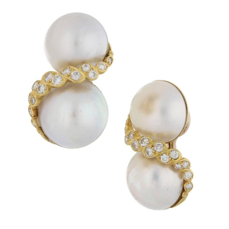 Mabé Pearl and Diamond Clip on Earrings