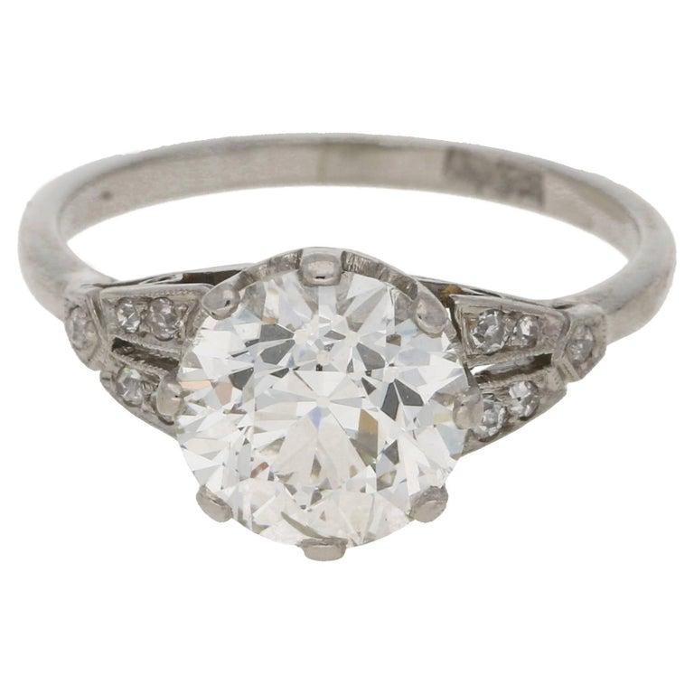 2.47 Carat Edwardian Diamond Single Stone Engagement Ring