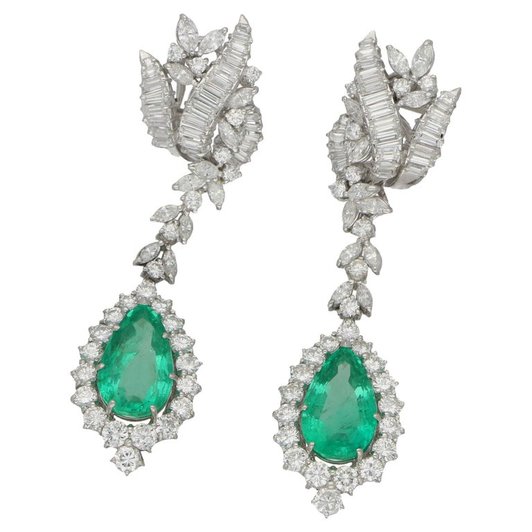 Emerald Diamond 1960s Drop Earrings