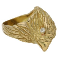 18 Karat Gold Eagle Head Ring