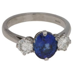 2.41 Carat Sapphire Diamond Three-Stone Platinum Engagement Ring