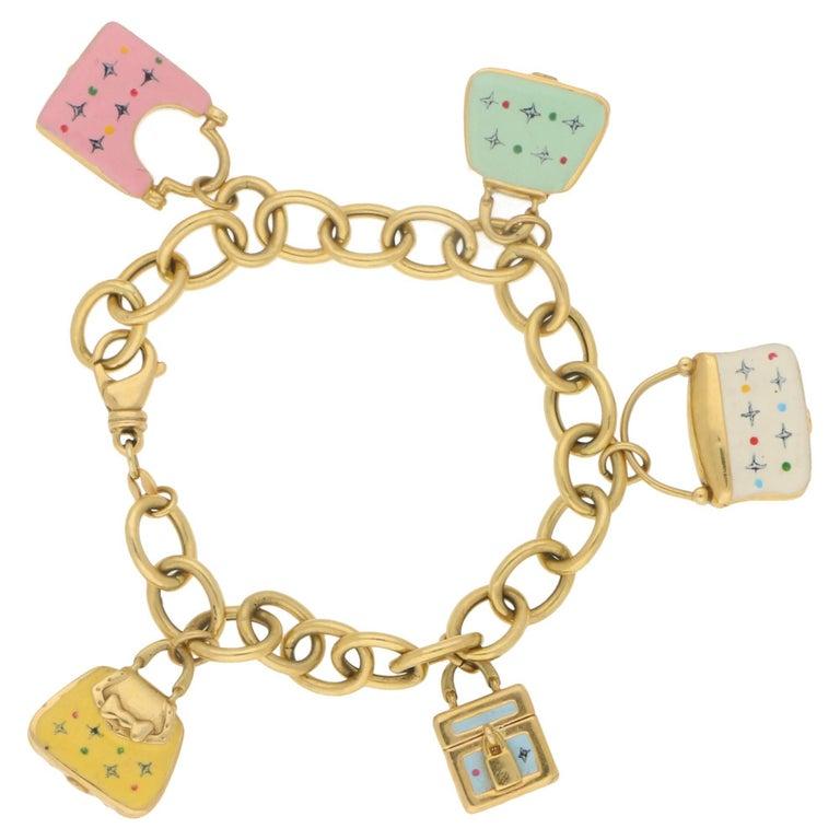 Vintage 18 Karat Gold Enamel Charm Bag Bracelet