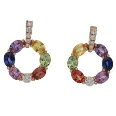 Rainbow Sapphire Diamond Drop Earrings