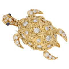 18 Karat Gold Diamond Turtle Brooch