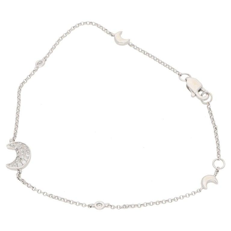 Diamond Gold Chain Moon Bracelet