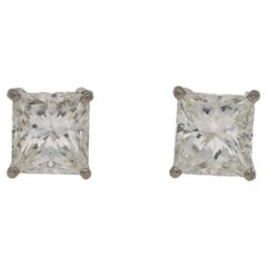 4.04 Carat Total Princess Cut Diamond Stud Earrings