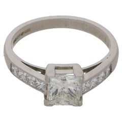 0.88 Carat Princess Cut Diamond Engagement Ring
