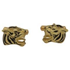 18 Carat Gold Enamel Tiger Head Cufflinks