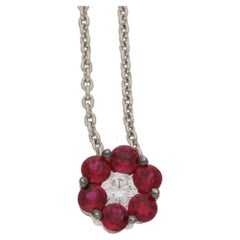 Ruby Diamond Floral Cluster Pendant on Chain