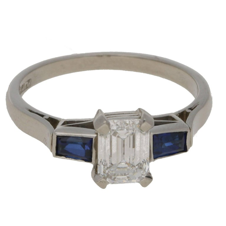 0.91 Carat Emerald Cut Diamond Sapphire Engagement Ring