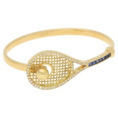 Novelty Gold Sapphire Diamond Gold Tennis Racket Bangle