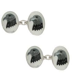 Silver Enamel Eagle Head Cufflinks