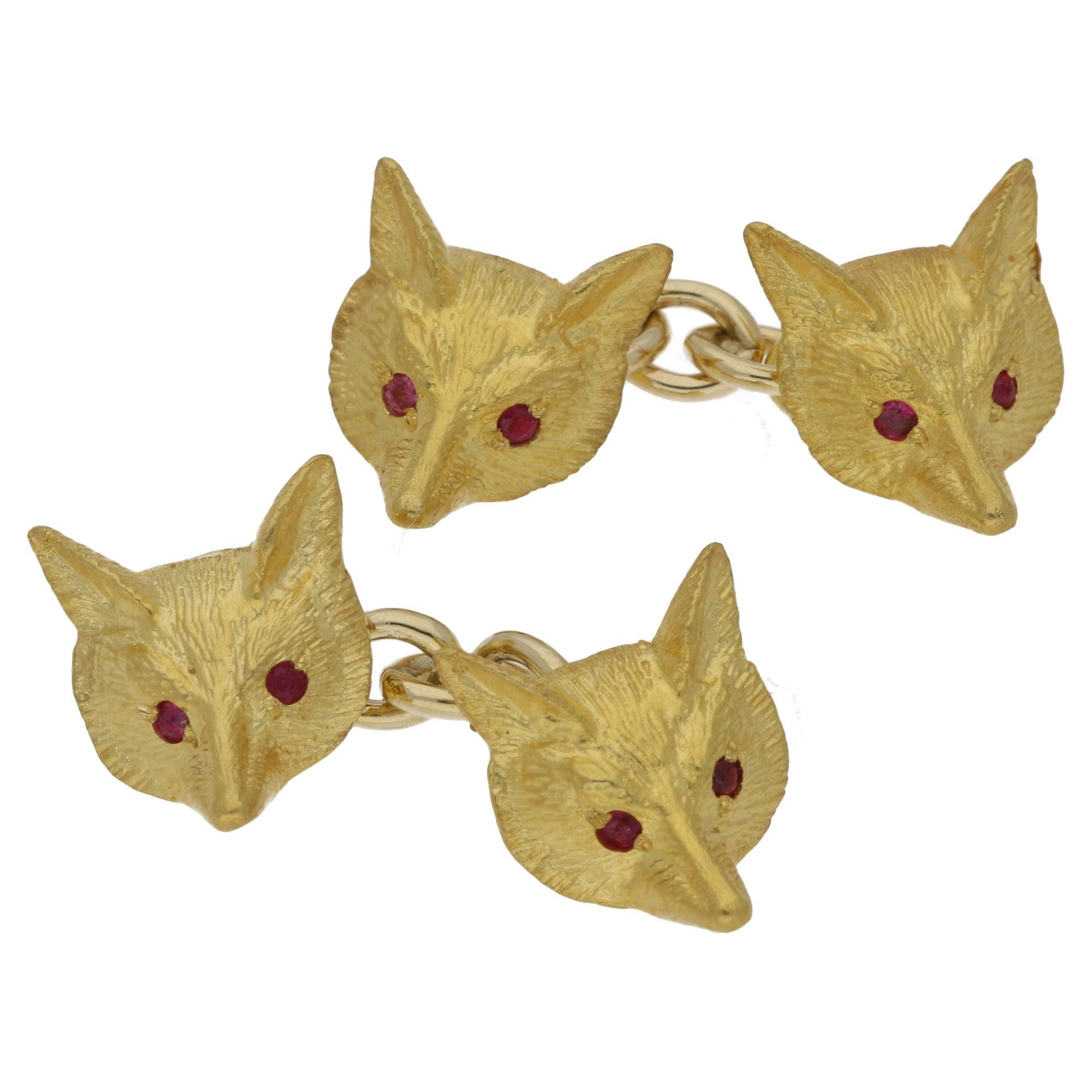 Diamond and Emerald Silver Fox Head Cufflinks at 1stdibs