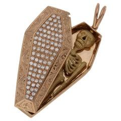 Diamond Coffin Skeleton Naughty 18 Karat Rose Gold Pendant