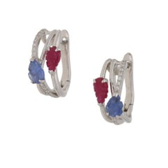 Tutti Frutti Sapphire Ruby Diamond Gold Hoop Earrings
