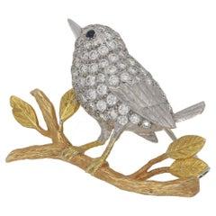 Diamond Wren Bird Brooch in 18 Carat Gold
