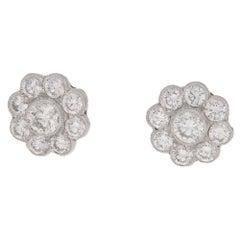 Diamond Daisy 18 Karat Gold Cluster Stud Earrings