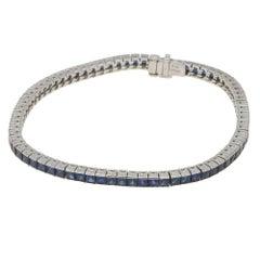 French Cut Sapphire Platinum Bracelet