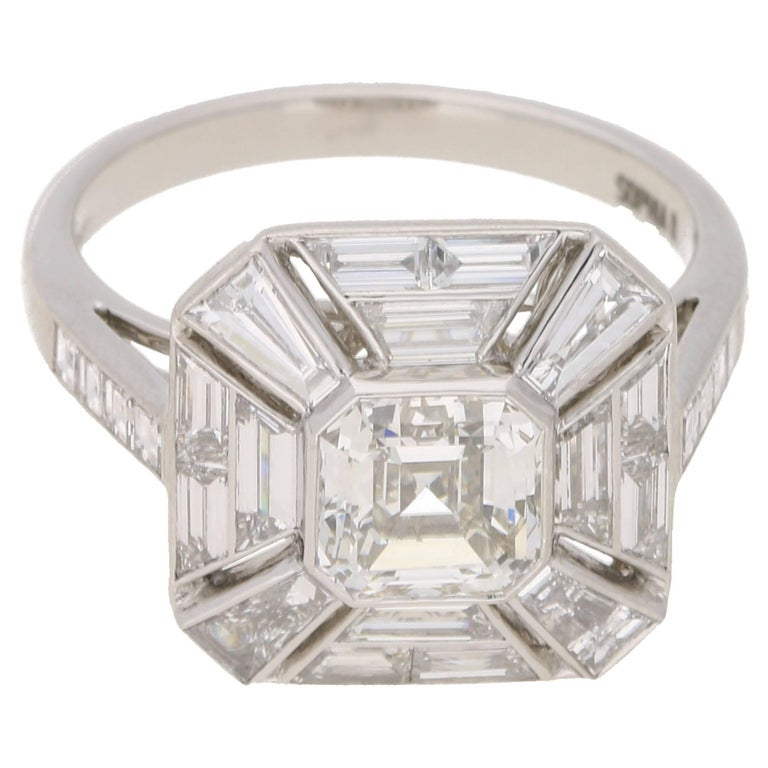 Asscher Cut Diamond Platinum Engagement Ring