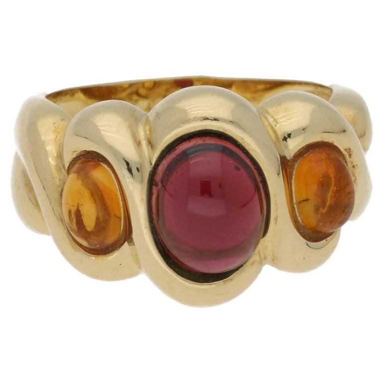 Citrine Garnet Cabochon Gold Dress Ring