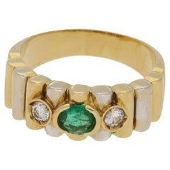 Emerald Diamond Dress Ring in 18 Karat Gold