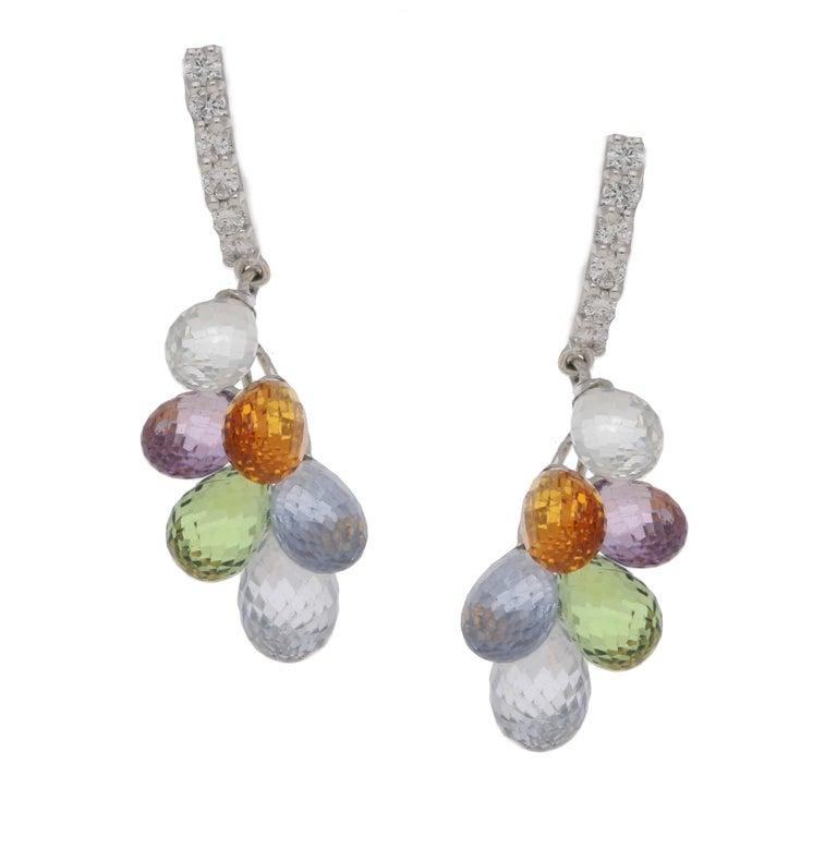 Multi-Color Briolette Sapphire Diamond Gold Drop Earrings