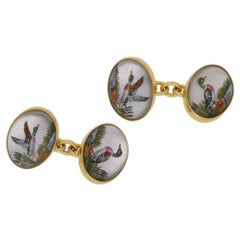 Essex Crystal Hand-Painted 18 Karat Gold Cufflinks