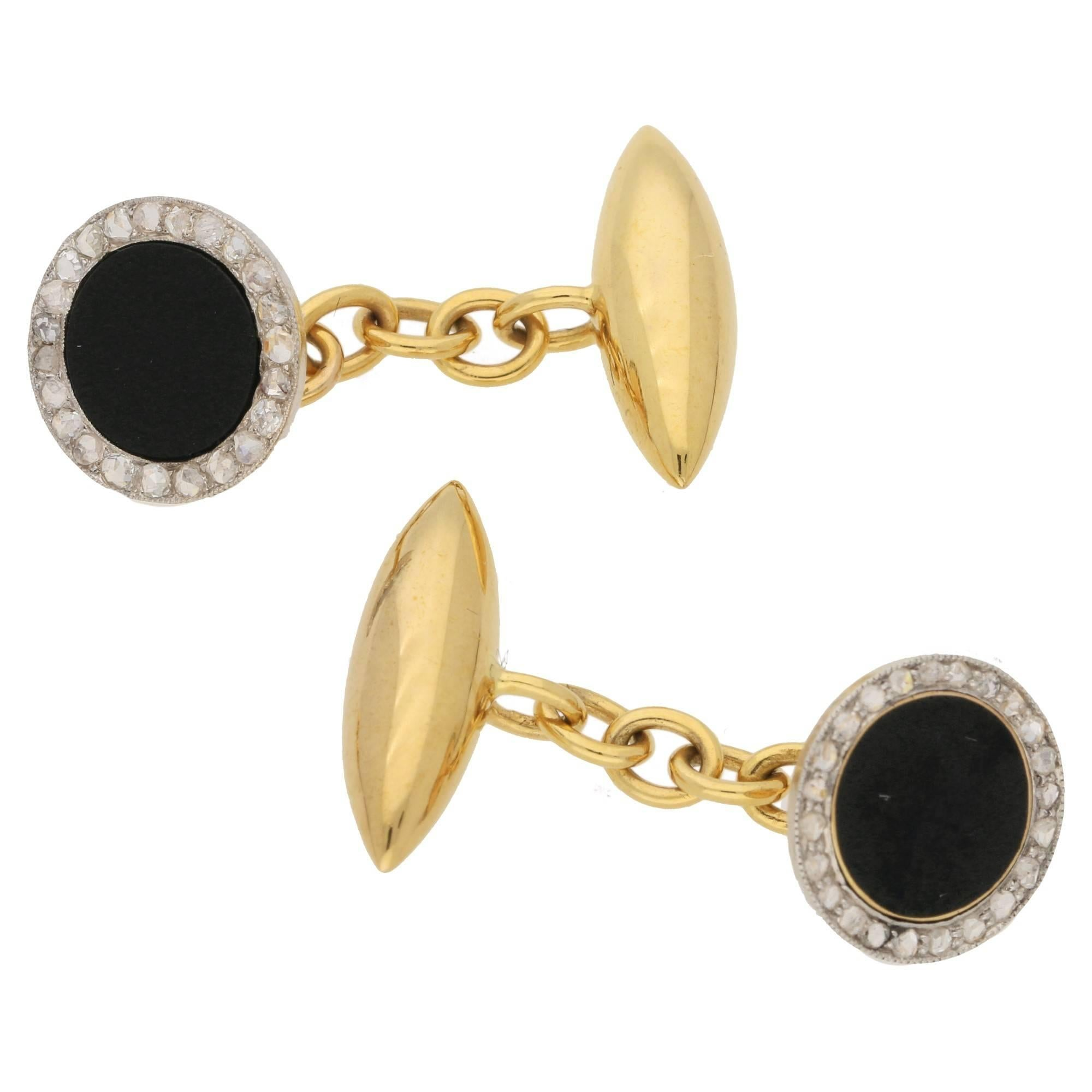 1stdibs 14k Yellow Gold With Onyx Chain-link Cuff Links ABvl7AxO