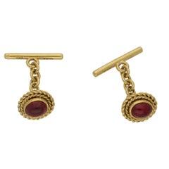 Garnet Cabochon 18 Karat Gold Cufflinks