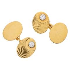 1960s Diamond 18 Karat Gold Cufflinks