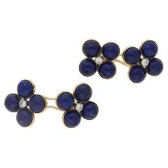 1950s Lapis Diamond Gold Cufflinks