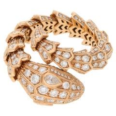 Bvlgari Rose Gold Diamond Serpenti 18 Carat Gold Snake Ring