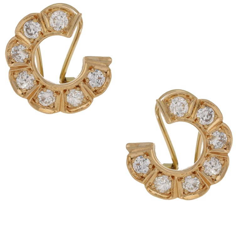 Diamond Circle Ear Hugging Gold Earrings