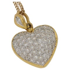 Diamond Pave Gold Heart Necklace