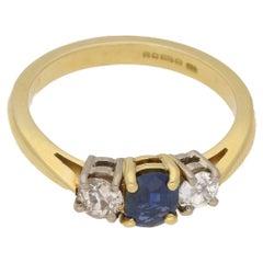 Sapphire Three Stone Engagement Ring