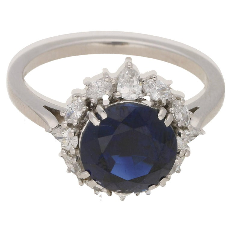 Sapphire Diamond Cluster Engagement Ring For Sale