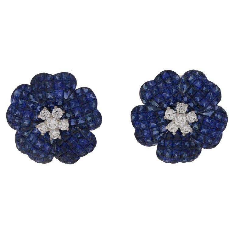 Invisible Set Sapphire Diamond Floral Earrings