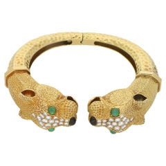1960s Leopard Head Gold Diamond Bangle