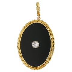Onyx Diamond 18 Carat Gold Pendant