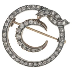 1870s Victorian Diamond Crescent Moon Brooch